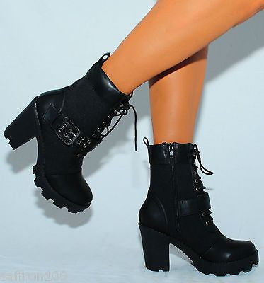 LADIES BLACK MILITARY COMBAT ARMY FASHION ANKLE BOOTS HIGH HEEL .