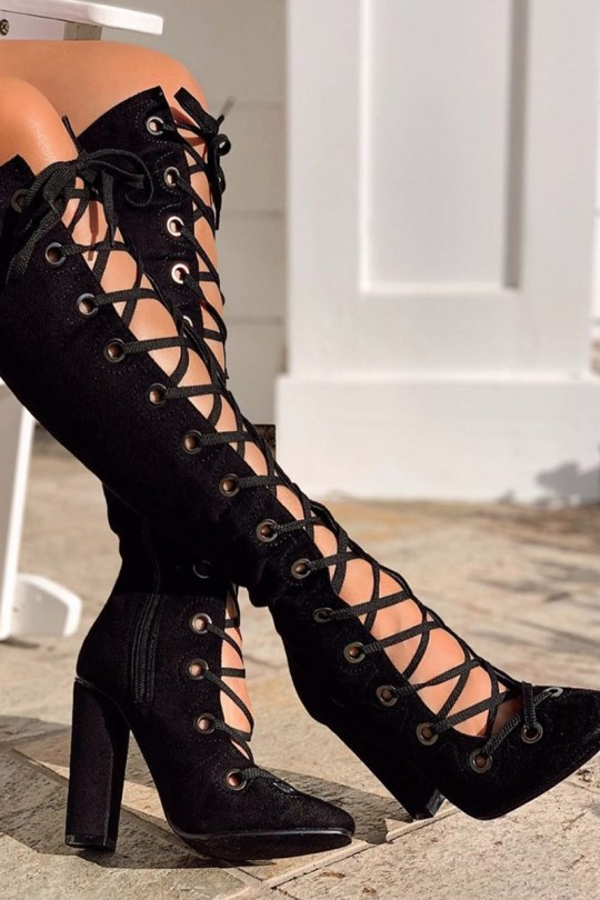 Black Faux Suede Lace Up Chunky Heel Boo