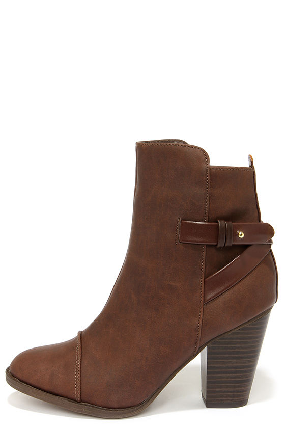Cute Brown Boots - High Heel Boots - Ankle Boots - $38.