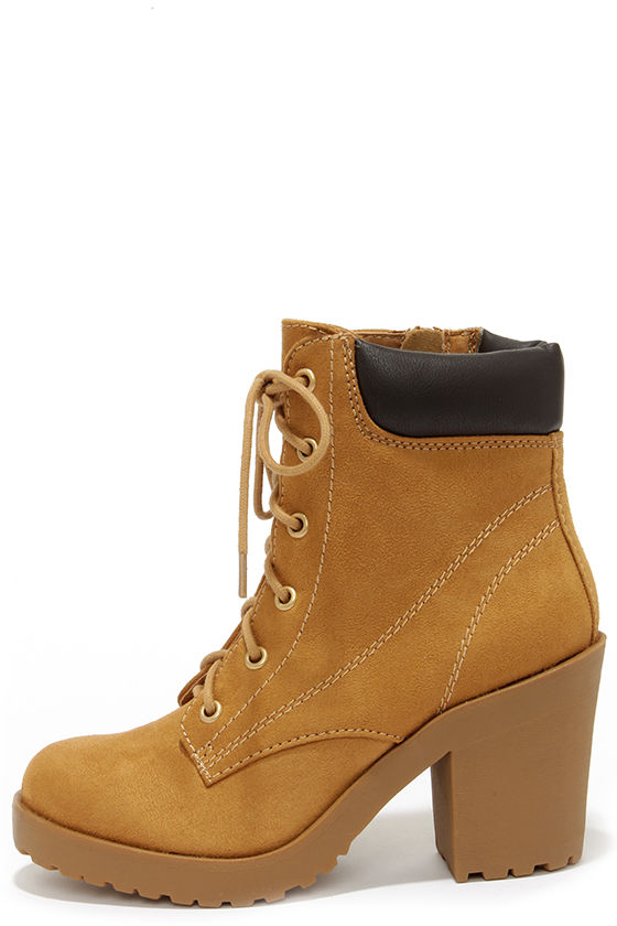 Cute Tan Boots - High Heel Work Boots - Ankle Boots - $36.