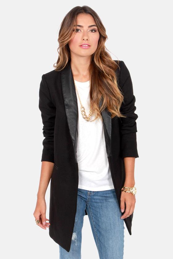 BB Dakota Blair Coat - Black Coat - Boyfriend Jacket - Oversized .