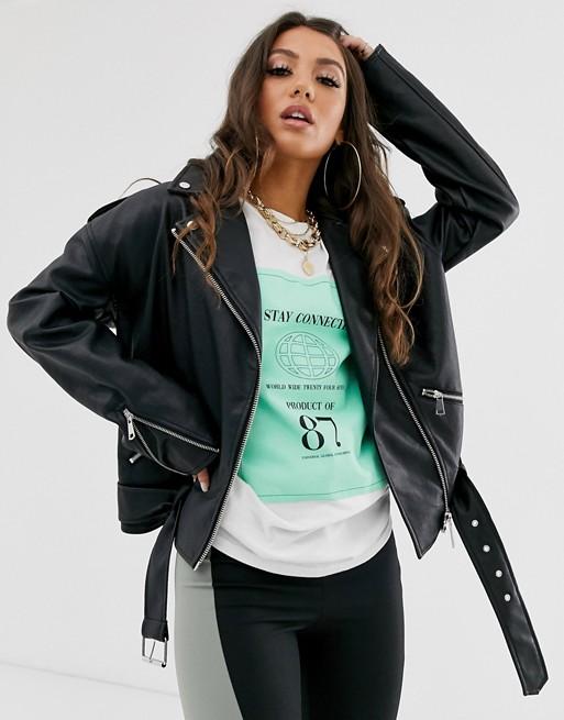 Missguided leather look boyfriend biker jacket in black | AS