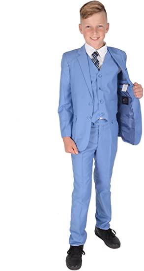 Amazon.com: Cinda 5 Piece Light Blue Boy Suits Boys Wedding Suit .