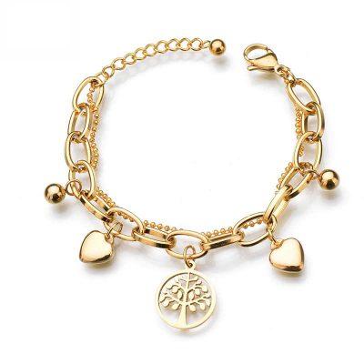Gold Charm Bracelet-Tree of Life Charm Bracelet Gold | Sureway
