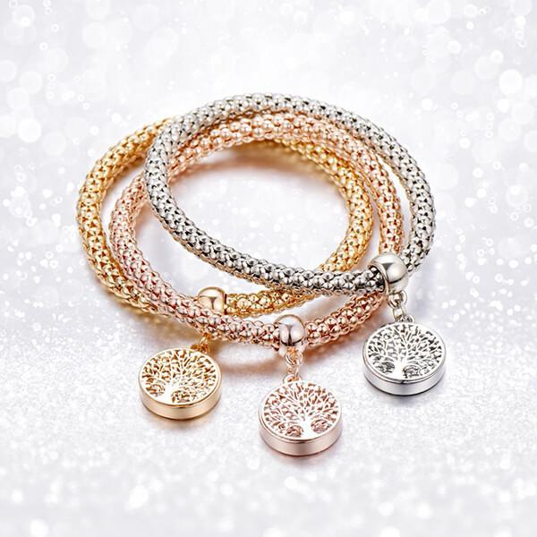"Tree of Life"" Austrian Crystals Gold Charms Bracelet - Pandoras ."