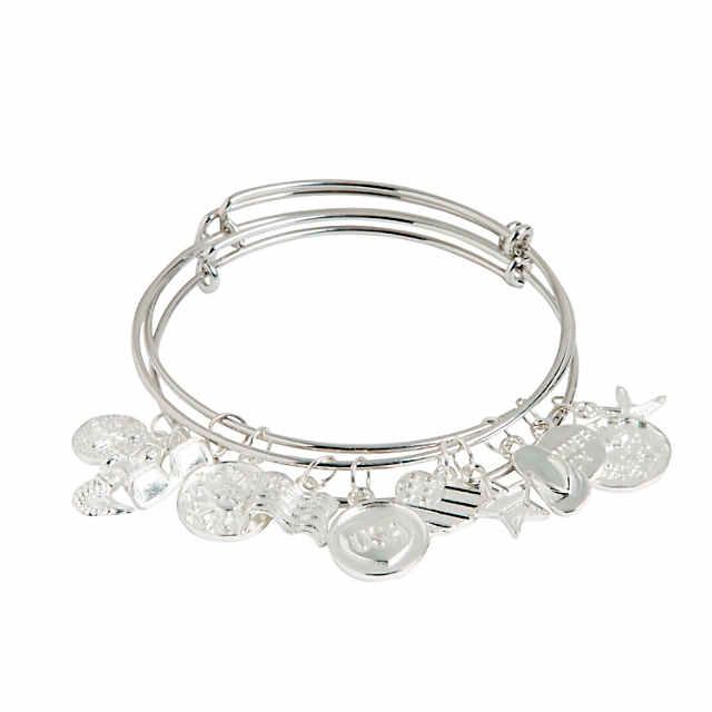 Inspiring Charms Expandable Silvertone Bangle Bracelets | Oriental .