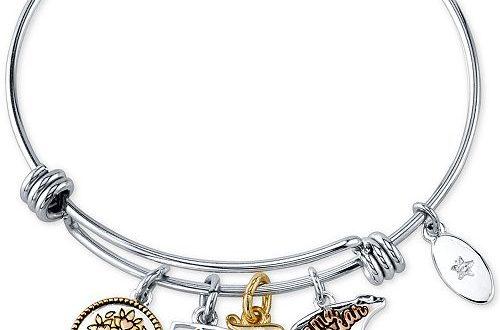 Unwritten Mom Charm Bangle Bracelet in Stainless Steel & Tri-Tone .