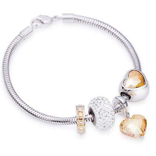 Crystal Heart Charm Bracelet with Swarovski® Charms - Golden Shad