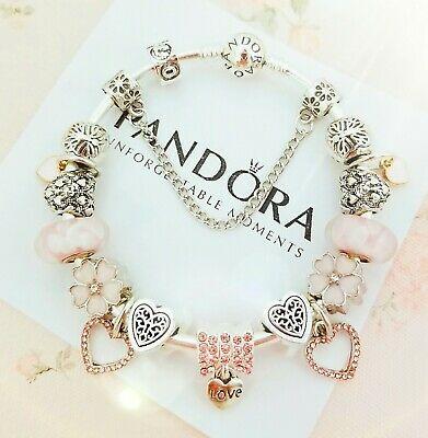 Authentic PANDORA Bracelet Silver with Pink Love Heart European .