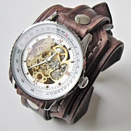 Vintage Men's Leather Cuff Watch Bracelet Wristband Handmade Brown .