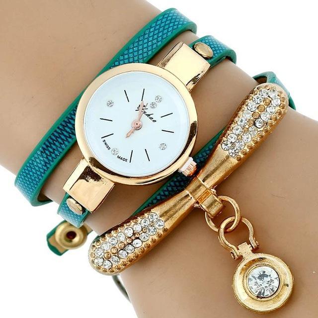 Gold Rhinestone Leather Bracelet Watch - Gift a H