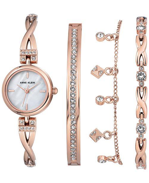 Anne Klein Women's Rose Gold-Tone Bangle Bracelet Watch 22mm Gift .