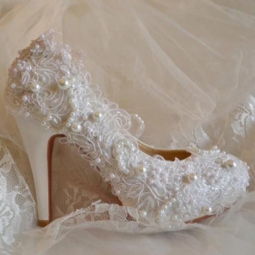Ivory White LaceAdorned Wedding Shoes,Ivory White Bridal Heels .