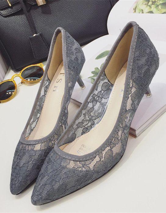 Low Heels Grey Lace Wedding Shoes,Gray Women Bridal Heels,Grey .