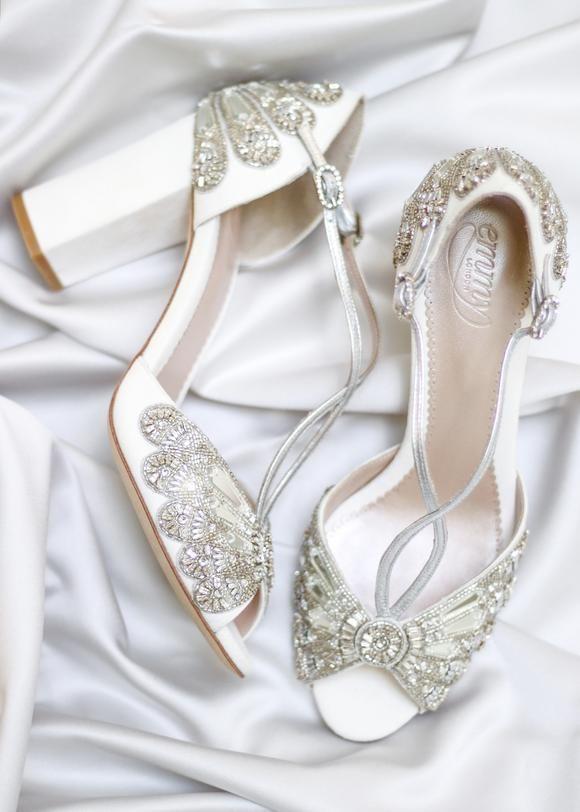 Cinderella Block Heel Bridal Shoes Ivory Suede Embellished Wedding .