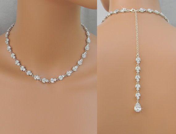 Back Drop Bridal Necklace, Crystal Backdrop Necklace, Gold .