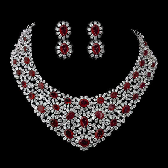 Very Heavy Look Ruby Bridal Necklace and Earrings Made with 925 .