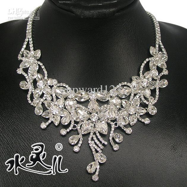 Silver Diamond Flower Bridal Necklace Earring Set Rhinestone Party .