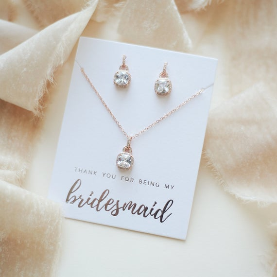 Rose Gold Bridesmaid Jewelry Gift CZ Bridesmaid Jewelry | Et