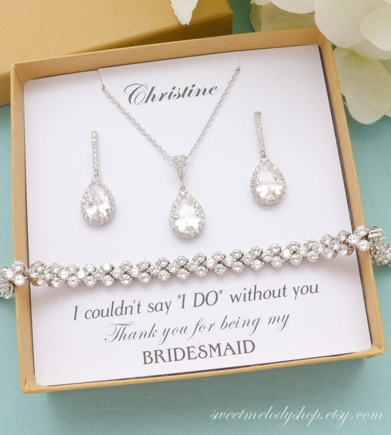 Bridesmaid Jewelry Bridesmaid Gift Silver Bridesmaid Jewelry | Et