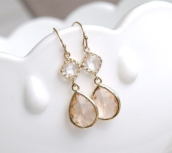 Champagne Earrings in Gold - Bridesmaid Earrings - Blush Earrings .