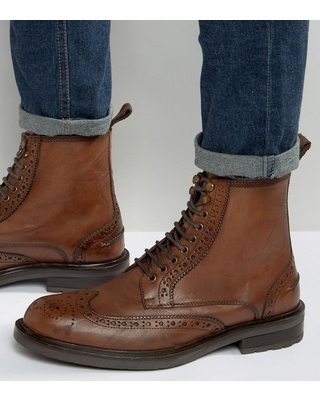 Check Out Deals on Dead Vintage Brogue Boots Tan Leather - T