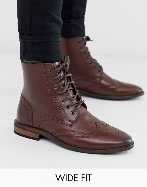 ASOS DESIGN Wide Fit brogue boots in brown leather with natural .