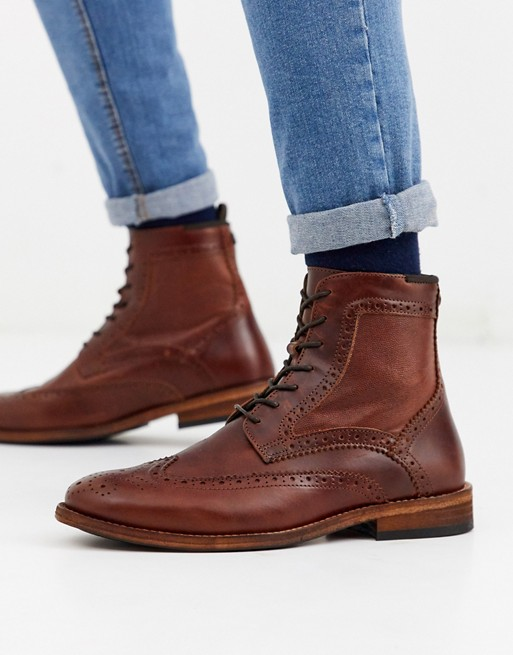 Barbour Belford lace up leather brogue boots in tan | AS