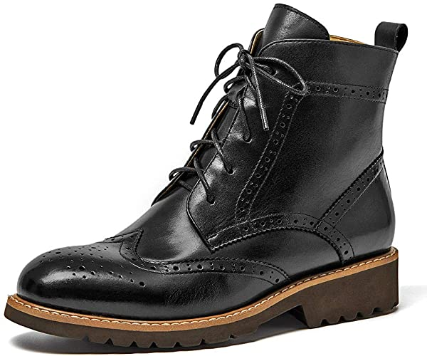 Amazon.com | Beau Today Brogue Boots Women Leather Shoes Ankle .