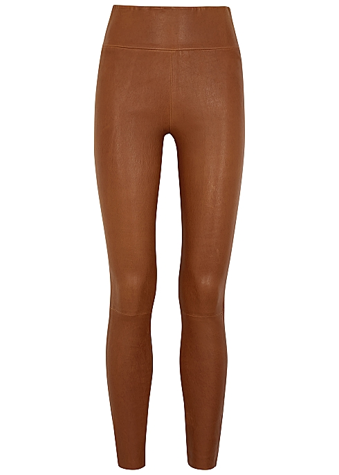 SPRWMN Brown leather leggings - Harvey Nicho