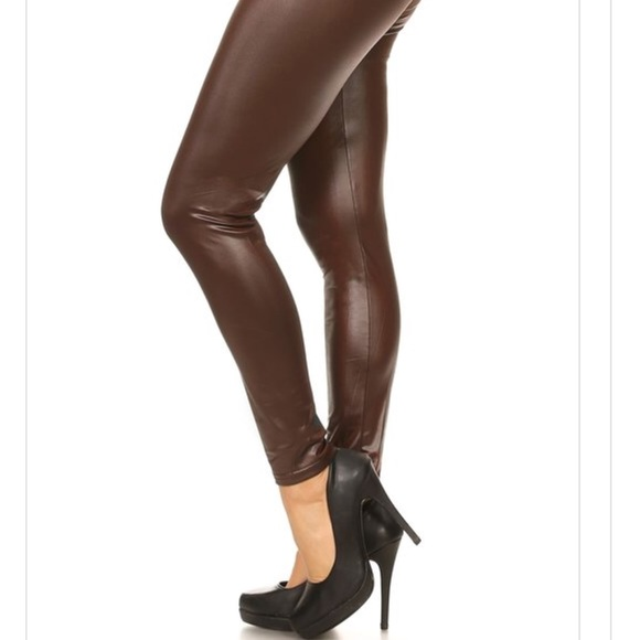 Pants | Dark Chocolate Brown Faux Leather Leggings | Poshma