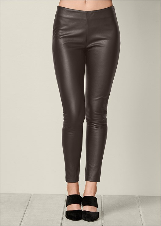 Faux Leather Leggings in Dark Brown | VEN