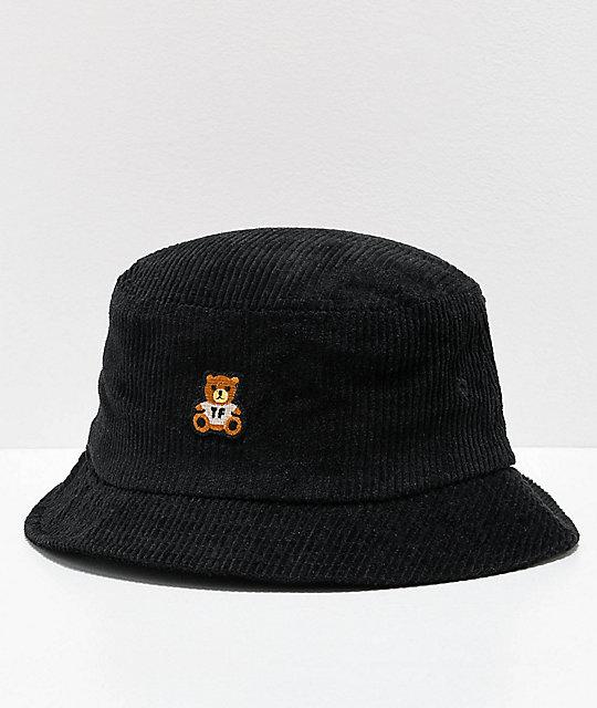 Teddy Fresh Corduroy Black Bucket Hat   Zumi