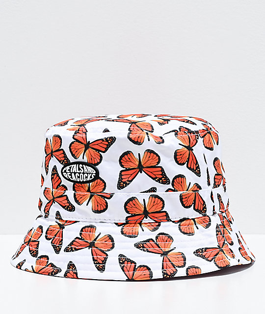 Petals and Peacocks Butterfly Effect White Bucket Hat   Zumi