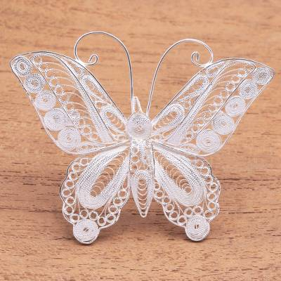 Sterling Silver Filigree Butterfly Brooch from Java - Intricate .