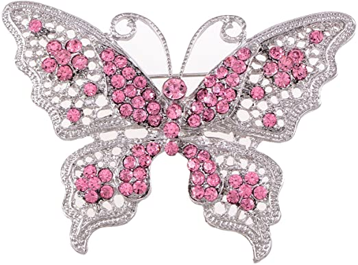 Amazon.com: Alilang Pink Tone Clear Crystal Rhinestone Filigree .