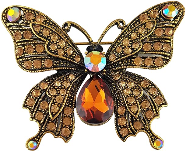 Amazon.com: SELOVO Butterfly Brooch Pin Brown Austrian Crystal .