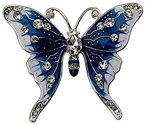 Amazon.com: FEELMEM Crystal Rhinestone Butterfly Brooch Pin Blue .