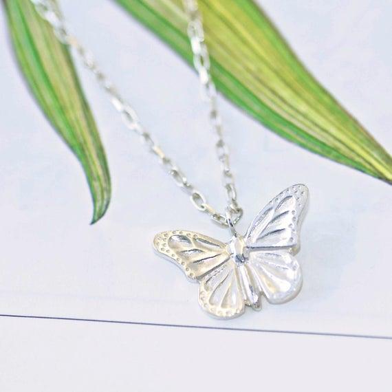 Silver Butterfly Necklace butterfly jewellery UK seller | Et