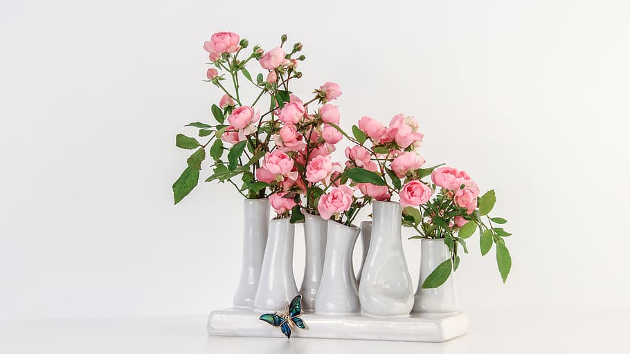 mini roses pink, moss roses, rosa centifolia, rose arrangement .