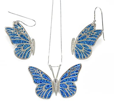 925 Sterling Silver Butterfly Jewellery Set Blue Polymer Clay .