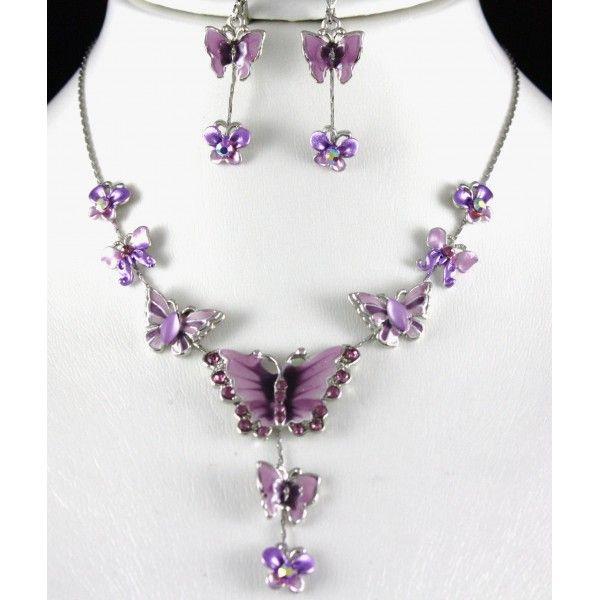 purple jewels | Home > Lilac & Purple Butterfly Jewellery Set .