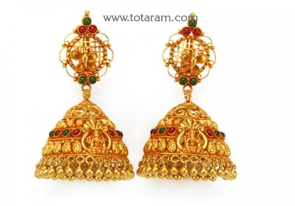 Temple Jewellery - 22K Gold 'Lakshmi - Butterfly' Jhumkas (Buttalu .