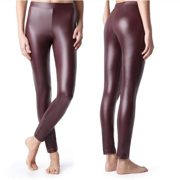 Calzedonia Pants | Wine Faux Leather High Rise Leggings | Poshma