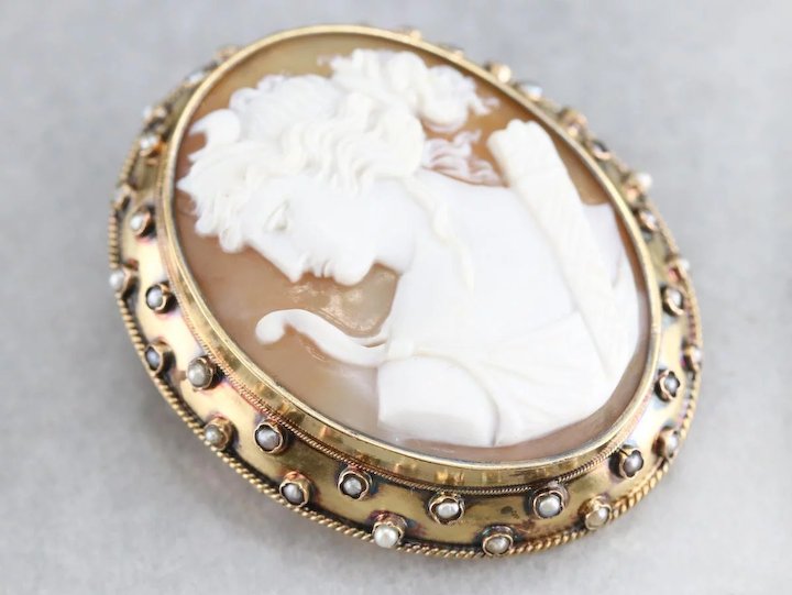 Goddess Diana Cameo Brooch Pendant : Market Square Jewelers | Ruby .
