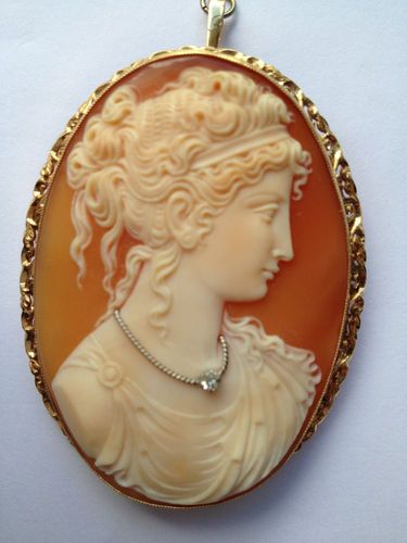 Antique Cameo Brooch With Diamond Feature Necklace 18ct Gold .