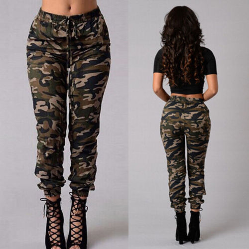2018 New Fashion Women Camouflage Pants Casual Cargo Joggers Army .
