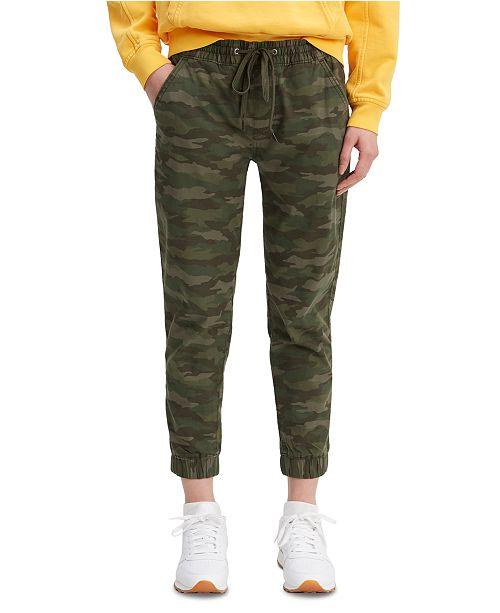 Levi's Women's Camouflage Print Drawstring-Waist Jogging Pants .
