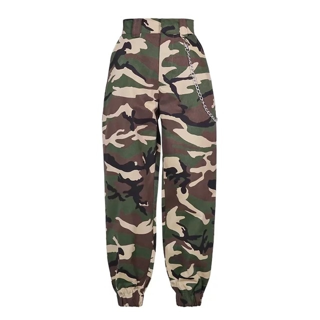2020 Fashion Chain Military Camouflage pants women Army black high .