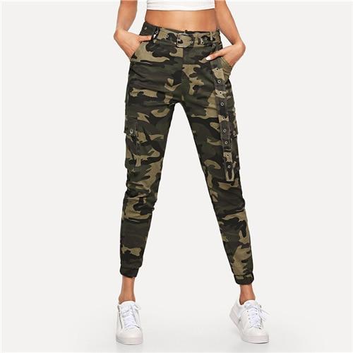 Mid Waist Camouflage Pants - Fancy N Lo